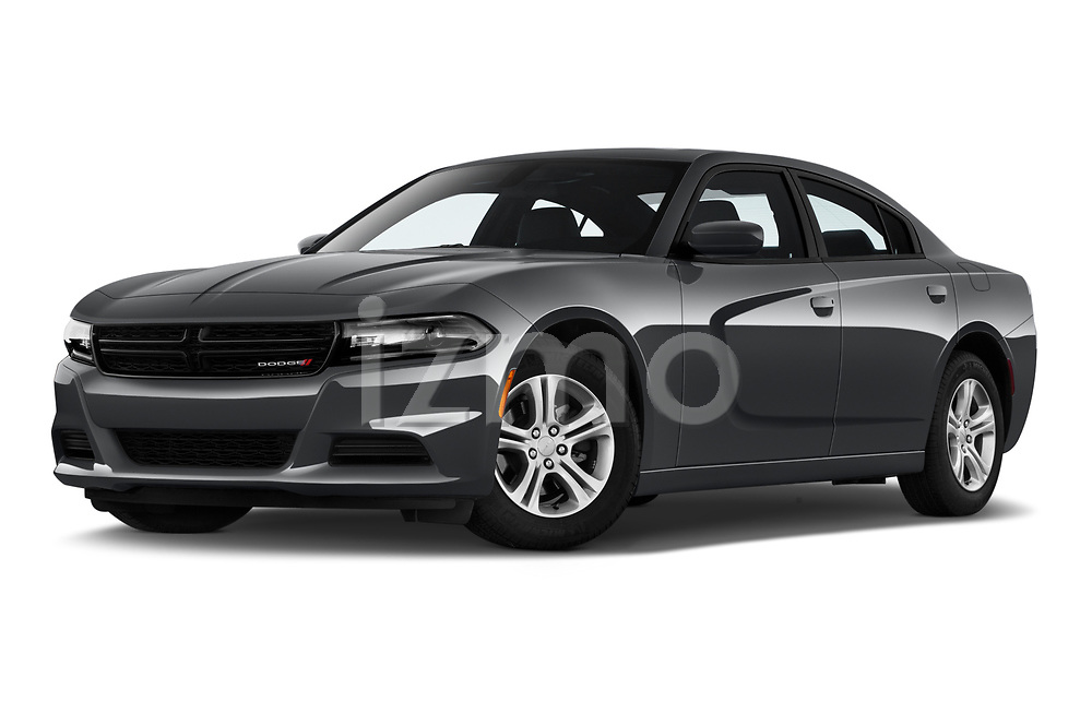 Stock pictures of low aggressive front three quarter view of a 2019 Dodge Charger SXT 4 Door Sedan