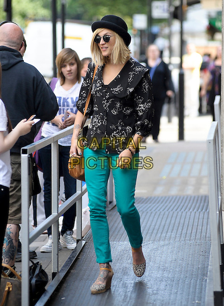 Fearne Cotton leaving BBC Radio 1, London, England..July 4th, 2011.full length black hat white print jacket green turquoise jeans denim sunglasses shades wedges shoes  tan brown bag purse  .CAP/DYL.©Dylan/Capital Pictures.
