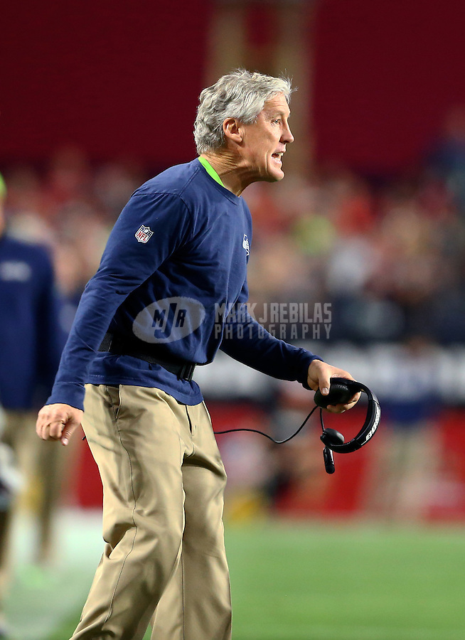 Jan 3, 2016; Glendale, AZ, USA; Seattle Seahawks head coach Pete Carroll reacts against the Arizona Cardinals at University of Phoenix Stadium. Mandatory Credit: Mark J. Rebilas-USA TODAY Sports