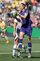 9th November 2019; Bankwest Stadium, Parramatta, New South Wales, Australia; International Womens Friendly Football, Australia versus Chile; Christiane Endler of Chile collects the ball from a corner kick - Editorial Use