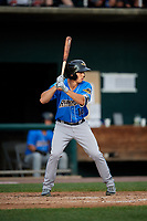 Akron RubberDucks right fielder Jodd Carter (16) at bat during a game against the Harrisburg Senators on August 18, 2018 at FNB Field in Harrisburg, Pennsylvania.  Akron defeated Harrisburg 5-1.  (Mike Janes/Four Seam Images)
