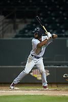Wilbis Santiago (44) of the Lynchburg Hillcats at bat against the Winston-Salem Dash at BB&T Ballpark on May 9, 2019 in Winston-Salem, North Carolina. The Dash defeated the Hillcats 4-1. (Brian Westerholt/Four Seam Images)