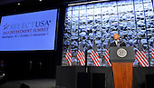 United States President Barack Obama makes remarks to the SelectUSA Investment Summit, as he introduces a comprehensive effort by the federal government to bring jobs and investment from around the world to the US, October 31, 2013, in Washington, DC. Obama touted America's productivity, low-cost energy and legal protections as incentives to invest in the US.    <br /> Credit: Mike Theiler / Pool via CNP