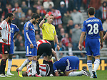 John Terry of Chelsea (on the floor)  is shown the red card during the Barclays Premier League match at the Stadium of Light, Sunderland. Photo credit should read: Simon Bellis/Sportimage