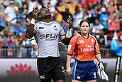 2nd February 2019, Spotless Stadium, Sydney, Australia; HSBC Sydney Rugby Sevens; England versus Fiji; Waisea Nacuqu of Fiji looks to the sky after scoring a try