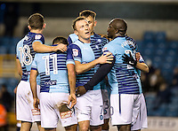 Garry Thompson of Wycombe Wanderers celebrates his goal during the Checkatrade Trophy round two Southern Section match between Millwall and Wycombe Wanderers at The Den, London, England on the 7th December 2016. Photo by Liam McAvoy.