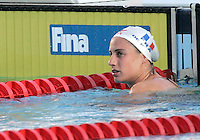 France's Sophie De Ronchi reacts after competing in a Women's 50m Breaststroke semifinal at the Swimming World Championships in Rome, 1 August 2009..UPDATE IMAGES PRESS/Riccardo De Luca