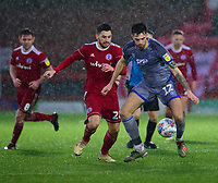 Lincoln City's Ellis Chapman vies for possession with Accrington Stanley's Seamus Conneely<br /> <br /> Photographer Andrew Vaughan/CameraSport<br /> <br /> The EFL Sky Bet League One - Accrington Stanley v Lincoln City - Saturday 15th February 2020 - Crown Ground - Accrington<br /> <br /> World Copyright © 2020 CameraSport. All rights reserved. 43 Linden Ave. Countesthorpe. Leicester. England. LE8 5PG - Tel: +44 (0) 116 277 4147 - admin@camerasport.com - www.camerasport.com