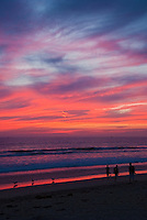 Venice CA, ,Washington Street Pier, Beautiful  Fire Red Sky, Sunset