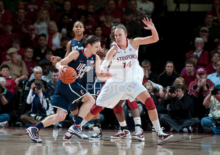 STANFORD CA-DECEMBER 30, 2010: Kayla Pedersen guards Kelly Faris during the Stanford 71-59 victory over UCONN at Maples Pavilion.