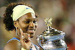 Serena Williams (L) with  the Womens singles Australian Open Trophy on day 13 of the Australian Open Tennis , 31-1-09