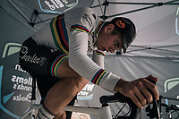 CX world champion Wout Van Aert (BEL/Crelan-Charles) warming up pre-race<br /> <br /> Super Prestige Ruddervoorde / Belgium 2017