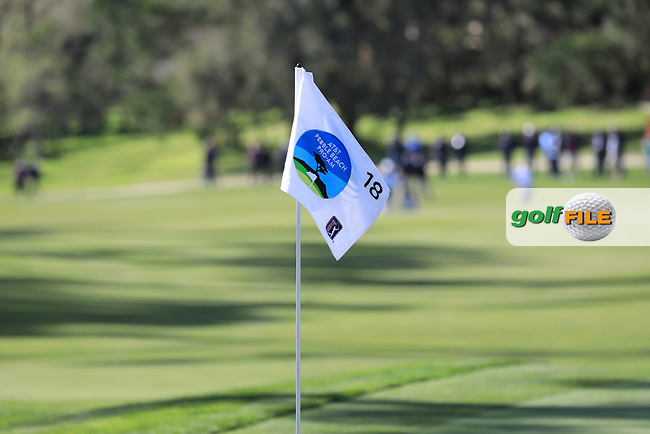 Pin flag during the first round of the AT&T Pro-Am, Pebble Beach Golf Links, Monterey, California, USA. 07/02/2019<br /> Picture: Golffile | Phil Inglis<br /> <br /> <br /> All photo usage must carry mandatory copyright credit (© Golffile | Phil Inglis)