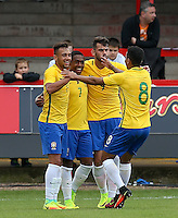 Celebrations as Malcom (7) of Brazil makes it 2-0 during the International match between England U20 and Brazil U20 at the Aggborough Stadium, Kidderminster, England on 4 September 2016. Photo by Andy Rowland / PRiME Media Images.
