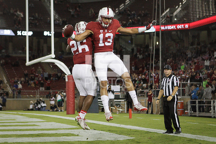 STANFORD, CA -- October 3, 2015: The Stanford Cardinal defeats the visiting Arizona Wildcats 55-17 at Stanford Stadium in regular season PAC-12 Conference play.