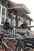 An Ocean Beach police department bicycle is seen in Ocean Beach on Fire Island in New York state, Wednesday August 3, 2011. The incorporated villages of Ocean Beach and Saltaire within Fire Island National Seashore are car-free during the summer tourist season and permit only pedestrian and bicycle traffic.