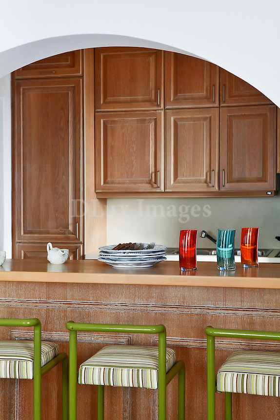 contemporary kithen with wooden cabinets