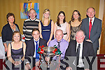 New Kerry Captain Darran O'Sullivan with his family and members of the Mid Kerry board after his appointment was made at the Mid Kerry County Championship celebration social in the Killarney Avenue Hotel on Saturday night front row l-r: Mary, Darran, Connie O'Sullivan, Jerome Conway Kerry County board Chairman. Back row: Eva,  Brendan Twiss, Rachel, Jennifer O'Sullivan, Leona Twiss and John Twiss Chairman