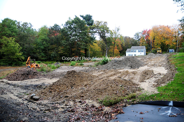 PLYMOUTH, CT, 04 OCT 12-100412AJ09- Ludlow Associates, of Pequabuck, will be building a road here to connect two dead ends, Highland Road and Lakeview Road near Fall Mountain Lake in Plymouth.  Alec Johnson/ Republican-American