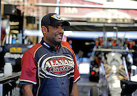 Feb. 15, 2013; Pomona, CA, USA; NHRA top fuel dragster driver Khalid Albalooshi during qualifying for the Winternationals at Auto Club Raceway at Pomona. Mandatory Credit: Mark J. Rebilas-