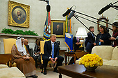 United States President Donald J. Trump speaks as he meets with the Emir of Kuwait Jaber Al-Ahmad Al-Sabah in the Oval Office of the White House on September 5, 2018 in Washington, DC. Credit: Alex Edelman / Pool via CNP