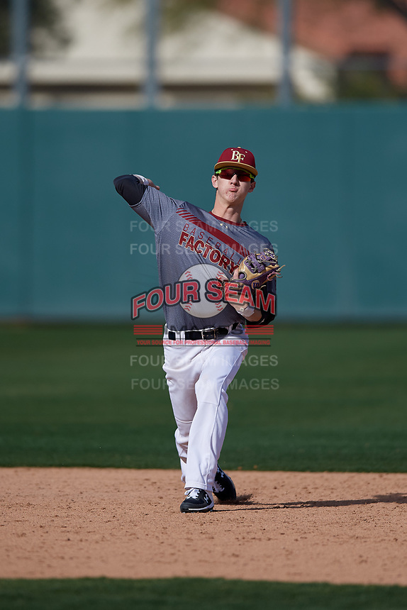 Brayton Wilmes during the Under Armour All-America Pre-Season Tournament, powered by Baseball Factory, on January 19, 2019 at Fitch Park in Mesa, Arizona.  Brayton Wilmes is a shortstop from Monument, Colorado who attends Palmer Ridge High School.  (Mike Janes/Four Seam Images)