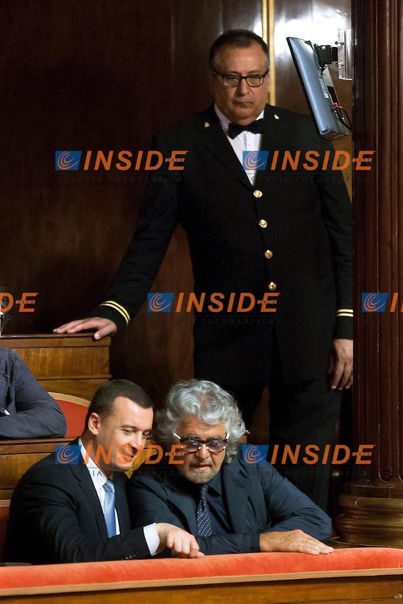 Rocco Casalino e Beppe Grillo<br /> Roma 15-07-2014 Senato Aula. Disposizioni per il superamento del bicameralismo paritario, la riduzione del numero dei parlamentari, il contenimento dei costi di funzionamento delle istituzioni, la soppressione del CNEL e la revisione del Titolo V della parte seconda della Costituzione.<br /> Photo Samantha Zucchi Insidefoto