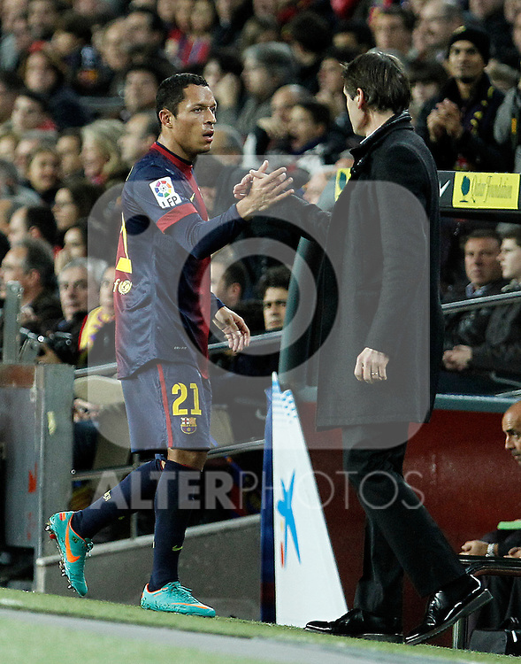 FC Barcelona's coach Tito Vilanova (r) and Adriano Correia during La Liga match.December 16,2012. (ALTERPHOTOS/Acero)