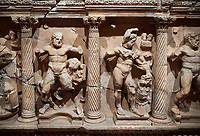"Roman Herakles (Hercules)  relief sculptured sarcophagus, 2nd century AD, Perge, inv 928. it is from the group of tombs classified as. ""Columned Sarcophagi of Asia Minor"".  Antalya Archaeology Museum, Turkey"