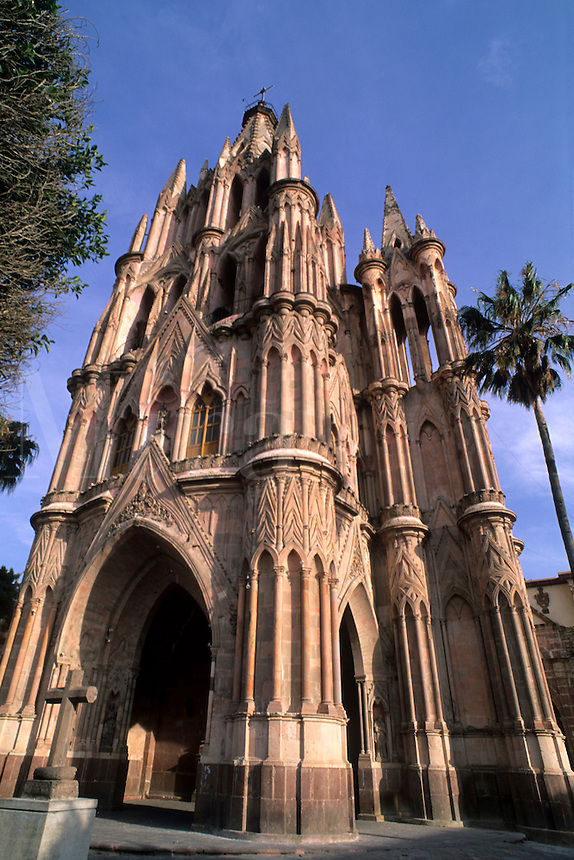 Beautiful color architecture of the famous Parish Church in San Miguel de Allende Mexico .