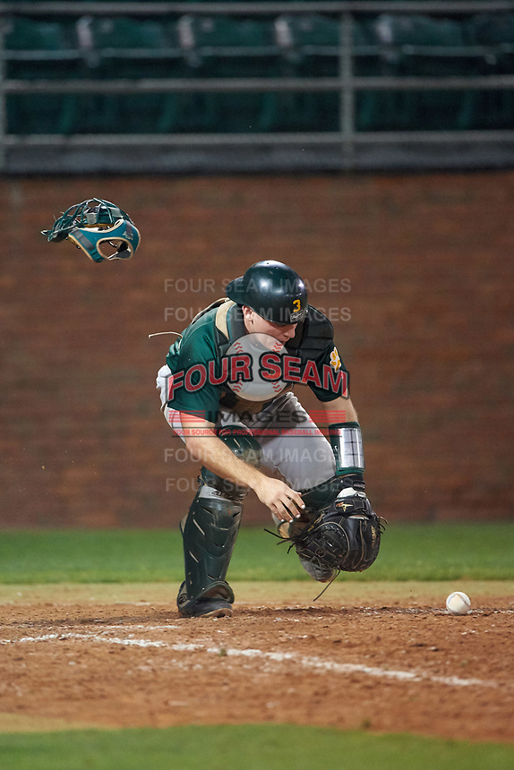 Siena Saints catcher Phil Madonna (3) during a game against the Stetson Hatters on February 23, 2016 at Melching Field at Conrad Park in DeLand, Florida.  Stetson defeated Siena 5-3.  (Mike Janes/Four Seam Images)