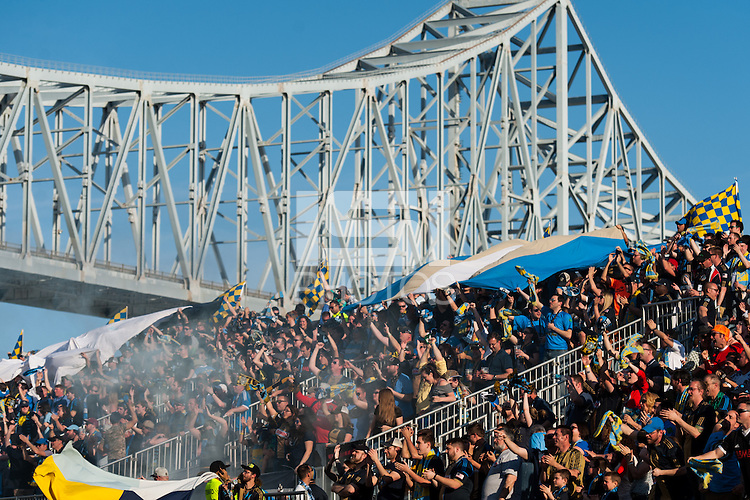 Philadelphia Union fans celebrate a goal. Real Salt Lake and the Philadelphia Union played to a 2-2 tie during a Major League Soccer (MLS) match at PPL Park in Chester, PA, on April 12, 2014.
