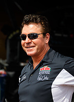 Apr 22, 2017; Baytown, TX, USA; Papa Johns Pizza founder John Schnatter, sponsor of NHRA top fuel driver Leah Pritchett in attendance during qualifying for the Springnationals at Royal Purple Raceway. Mandatory Credit: Mark J. Rebilas-USA TODAY Sports