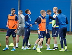 28.08.2019 Rangers training: Borna Barisic, Filip Helander and Jamie Murphy lead the teams in rock, paper, scissors to decide the start of training teams. Borna wins