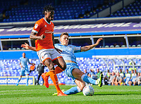 Blackpool's Armand Gnanduillet vies for possession with Coventry City's Michael Rose<br /> <br /> Photographer Chris Vaughan/CameraSport<br /> <br /> The EFL Sky Bet League One - Coventry City v Blackpool - Saturday 7th September 2019 - St Andrew's - Birmingham<br /> <br /> World Copyright © 2019 CameraSport. All rights reserved. 43 Linden Ave. Countesthorpe. Leicester. England. LE8 5PG - Tel: +44 (0) 116 277 4147 - admin@camerasport.com - www.camerasport.com