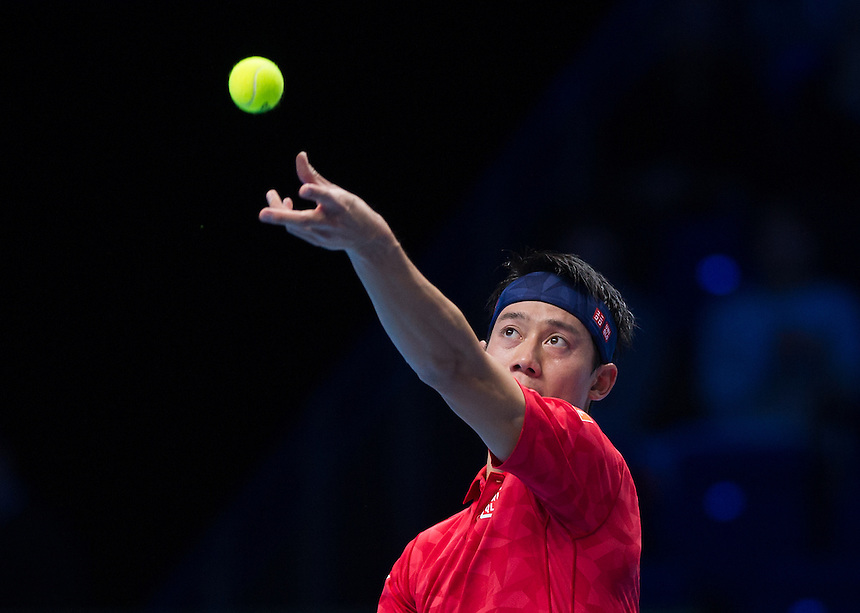 Kei Nishikori of Japan during his defeat to Andy Murray of Great Britain in their Group John McEnroe match today - Andy Murray def Kei Nishikori 6-7 (9-11) 6-4 6-4<br /> <br /> Photographer Ashley Western/CameraSport<br /> <br /> International Tennis - Barclays ATP World Tour Finals - Day 4 - Wednesday 16th November 2016 - O2 Arena - London<br /> <br /> World Copyright &copy; 2016 CameraSport. All rights reserved. 43 Linden Ave. Countesthorpe. Leicester. England. LE8 5PG - Tel: +44 (0) 116 277 4147 - admin@camerasport.com - www.camerasport.com