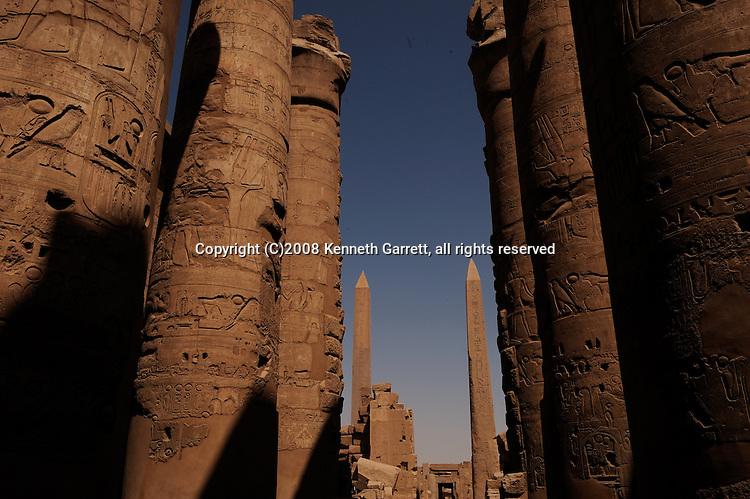 Hypostyle Hall, obelisks of Hatshepsut and Thutmosis III, Karnak Temple; Hatshepsut; Egypt; Luxor; obelisk, New Kingdom; 18th dynasty; Luxor, Thebes, Temple of Amun