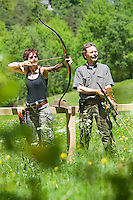 Pfunds, Tyrol, Austria, June 2010. Bow hunters practice at the brand new Bow Hunters Parcour Near the Fisher Alm in Tiroler Oberland. Bow hunting is an upcoming outdoor sport where archers shoot at rubber 3D targets in the shape of game animals.  Photo by Frits Meyst/Adventure4ever.com
