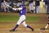LSU Tigers first base Mason Katz #8 swings the bat against the Auburn Tigers in the NCAA baseball game on March 23, 2013 at Alex Box Stadium in Baton Rouge, Louisiana. LSU defeated Auburn 5-1. (Andrew Woolley/Four Seam Images).