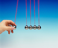 NEWTON TOY PENDULA: COLLISION EXPERIMENT<br /> Newton's Third Law<br /> (1 of 8 - Variations Available)<br /> Conservation of Momentum<br /> One pendula bob used as a projectile collides with four other pendula bobs displacing one pendula bob equal to the original displacement of the projectile bob.