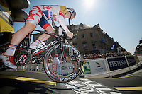 André Greipel (DEU) off the TT start podium<br /> <br /> Tour de France 2013<br /> stage 11: iTT Avranches - Mont Saint-Michel <br /> 33km