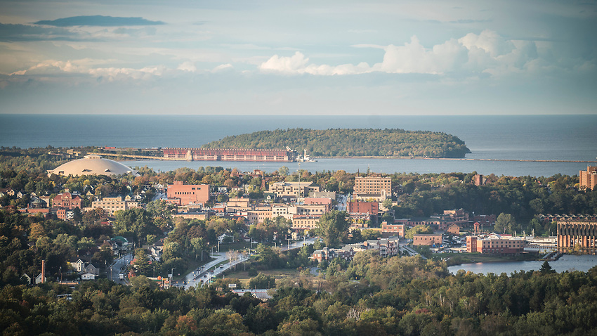 Marquette, Michigan as seen from Mount Marquette Overlook.