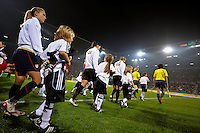 USWNT walk onto the field. US Women's National Team defeated Germany 1-0 at Impuls Arena in Augsburg, Germany on October 29, 2009.