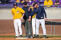 Virginia Cavaliers head coach Brian O'Connor #26 argues a call with first base umpire Stan Johnson at Clark-LeClair Stadium on February 20, 2010 in Greenville, North Carolina.   Photo by Brian Westerholt / Four Seam Images