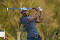 Dustin Johnson (USA) watches his tee shot on 18 during round 4 of the World Golf Championships, Mexico, Club De Golf Chapultepec, Mexico City, Mexico. 2/24/2019.<br /> Picture: Golffile | Ken Murray<br /> <br /> <br /> All photo usage must carry mandatory copyright credit (© Golffile | Ken Murray)