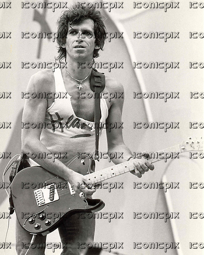 ROLLING STONES - Keith Richards performing live on the opening night of their European Tour at the Feyenoord Stadium in Rotterdam Netherlands - 1982.  Photo credit: Aad Spanjaard/MMMedia/IconicPix