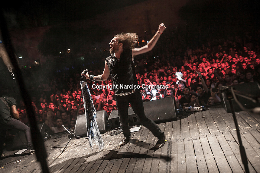August 27, 2014 - Binyamina, Haifa District, Israel: Kobi Farhi, singer at Orphaned Land heavy metal band, performs a concert in Binyamina Amphitheatre at north of Israel. Orphaned Land is a music band founded by Jewish and Arabian musicians who combine ethnic music with rock metal as they recite verses in Hebrew and Arabic from the sacred Quram and Tora Scriptures. (Narciso Contreras/Polaris)