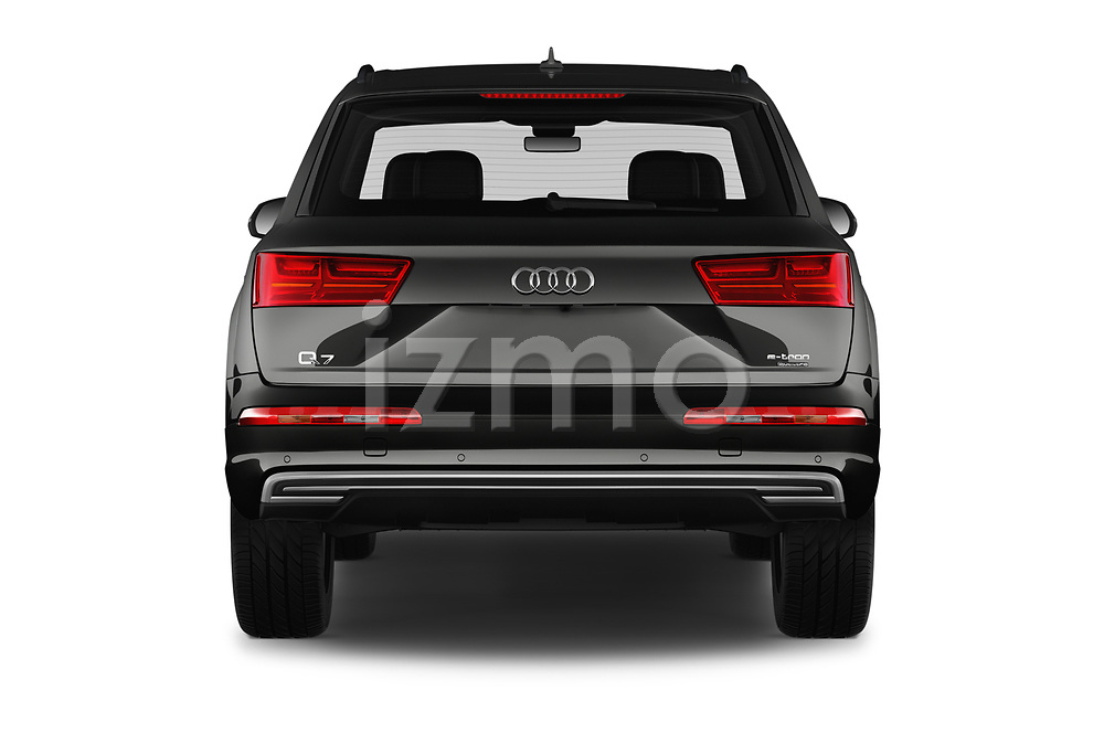 Straight rear view of 2017 Audi Q7-e-Tron Avus 5 Door SUV Rear View  stock images