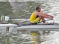 Ottensheim, AUSTRIA. AUS. JM1X,  Taylor WILZCHSKI, move's away from the start pontoon, at the 2008 FISA Senior and Junior Rowing Championships,  Linz/Ottensheim. Wednesday,  23/07/2008.  [Mandatory Credit: Peter SPURRIER, Intersport Images]. Rowing Course: Linz/ Ottensheim, Austria