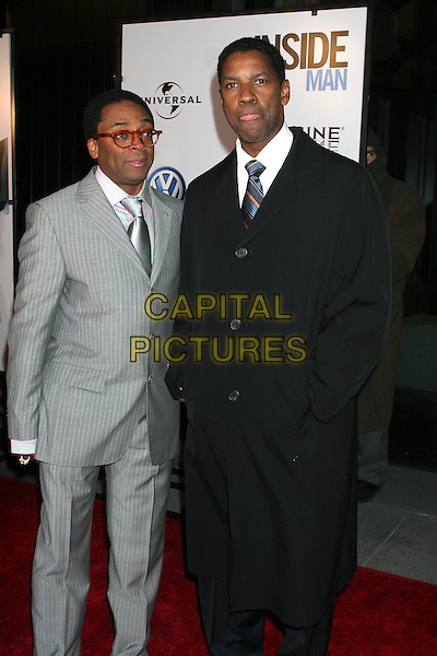 "SPIKE LEE & DENZEL WASHINGTON.Premiere Of ""Inside Man"" at the Ziegfeld Theater, New York City, New York, USA..March 20th, 2006.Ref: IW.full length black coat grey gray pinstripe suit  .www.capitalpictures.com.sales@capitalpictures.com.©Capital Pictures"